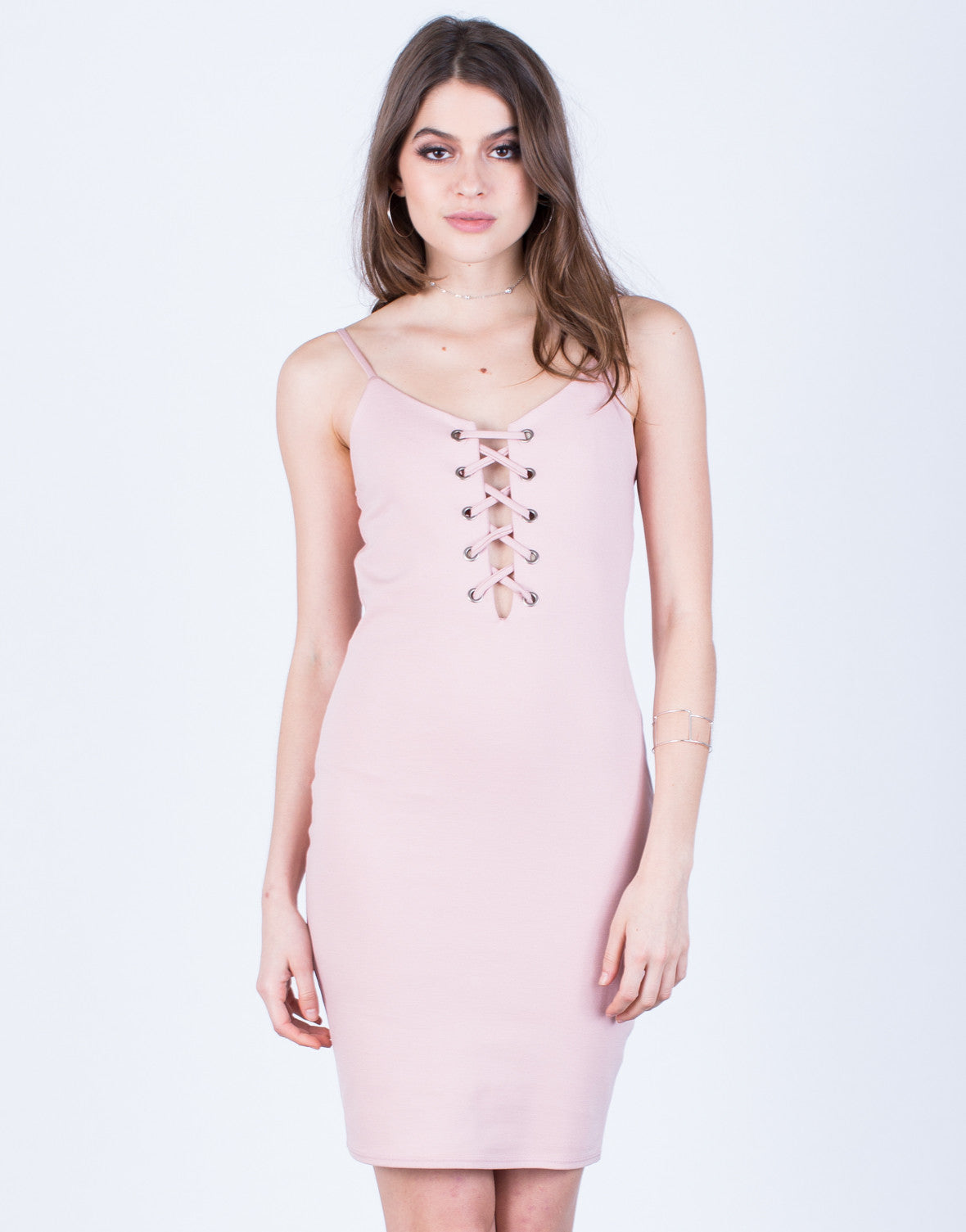 Front View of Front Lace-Up Party Dress