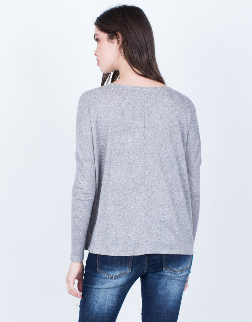 Back View of Front Pocket Knit Top