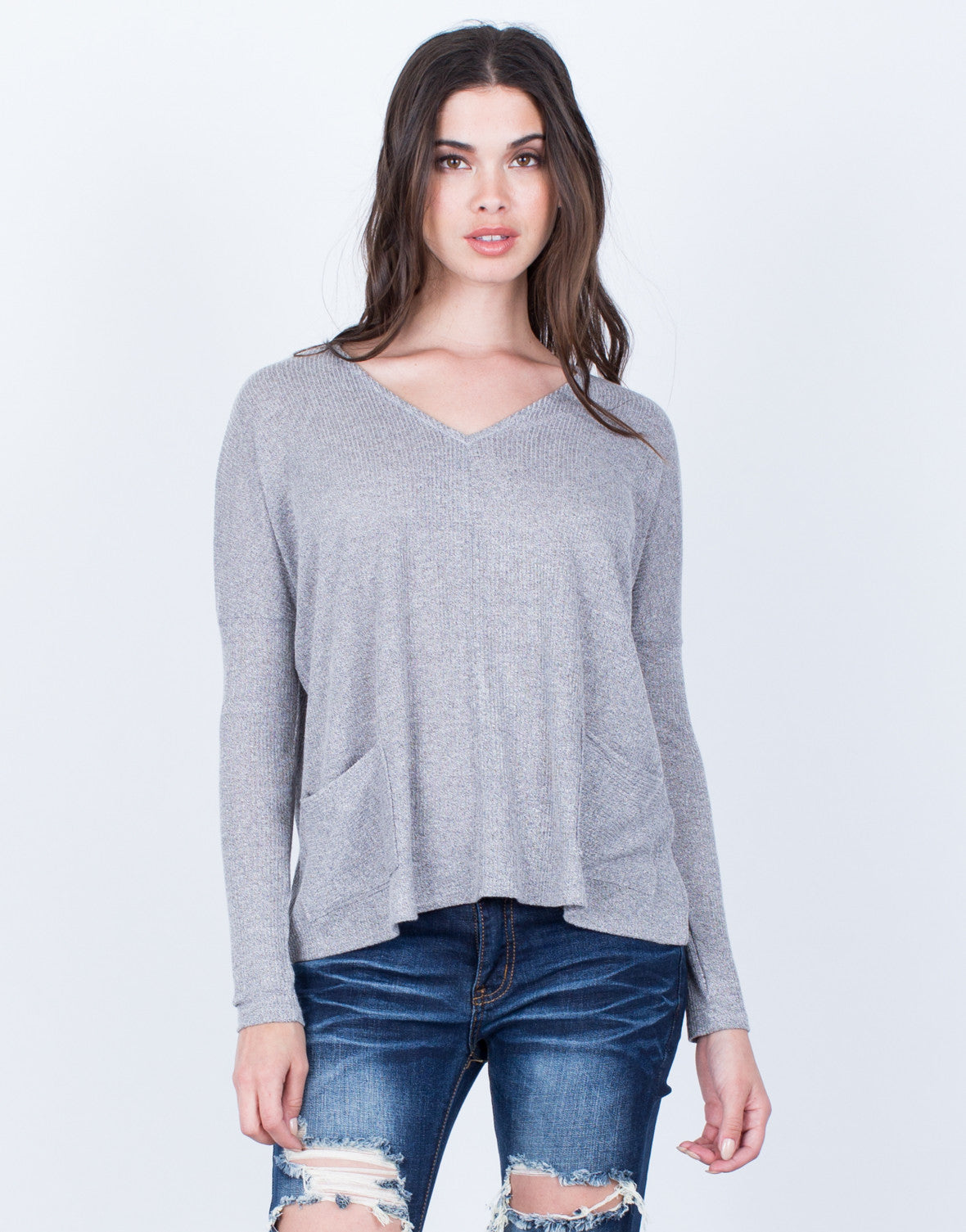 Front View of Front Pocket Knit Top