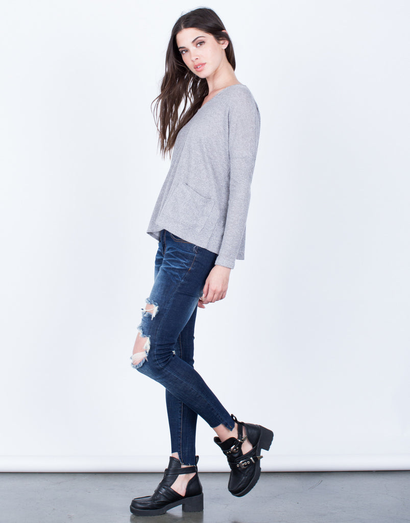 Side View of Front Pocket Knit Top