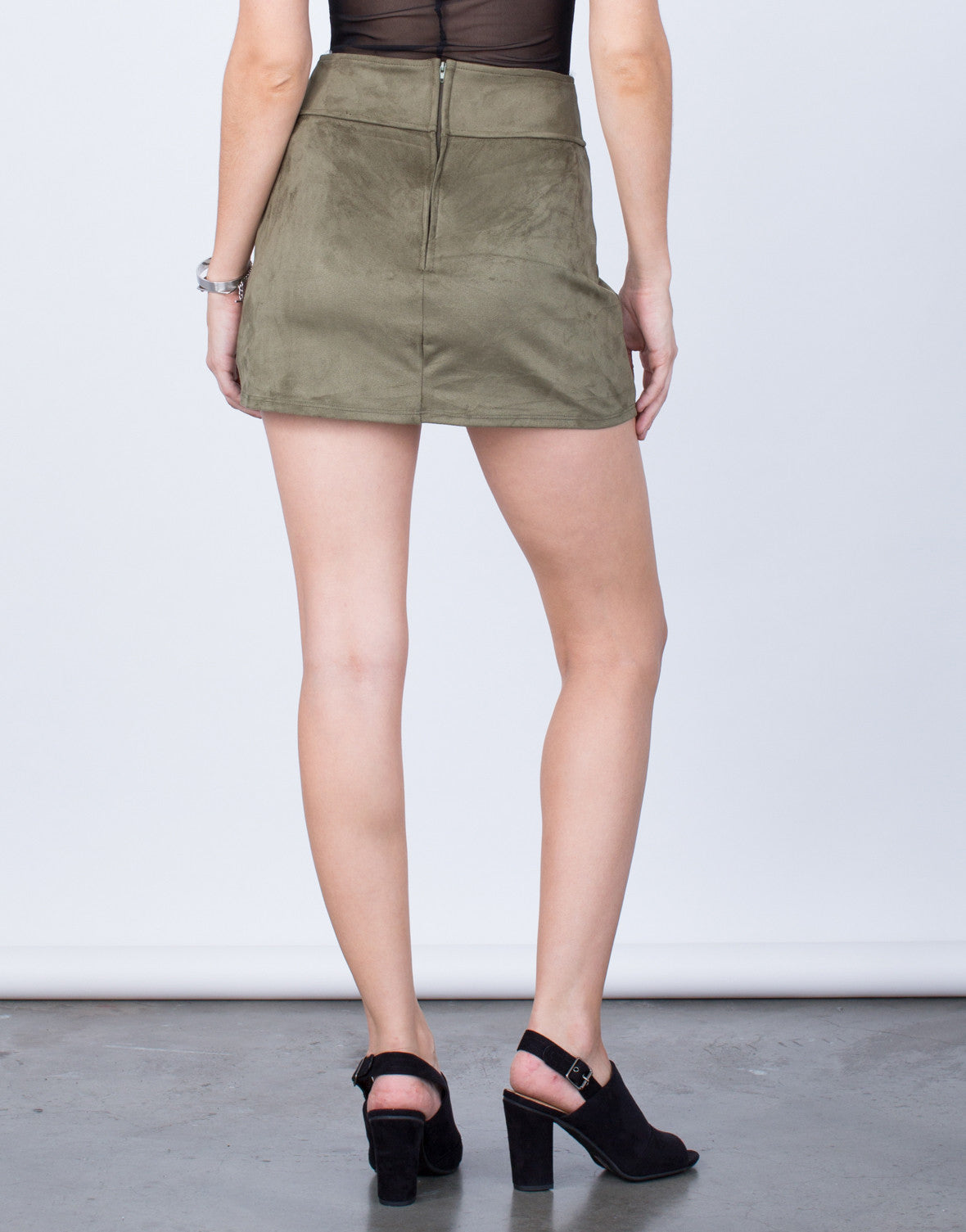 Back View of Front Pocket Suede Mini Skirt