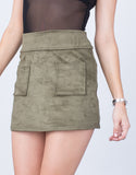 Front Pocket Suede Mini Skirt