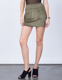 Front View of Front Pocket Suede Mini Skirt