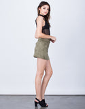 Side View of Front Pocket Suede Mini Skirt