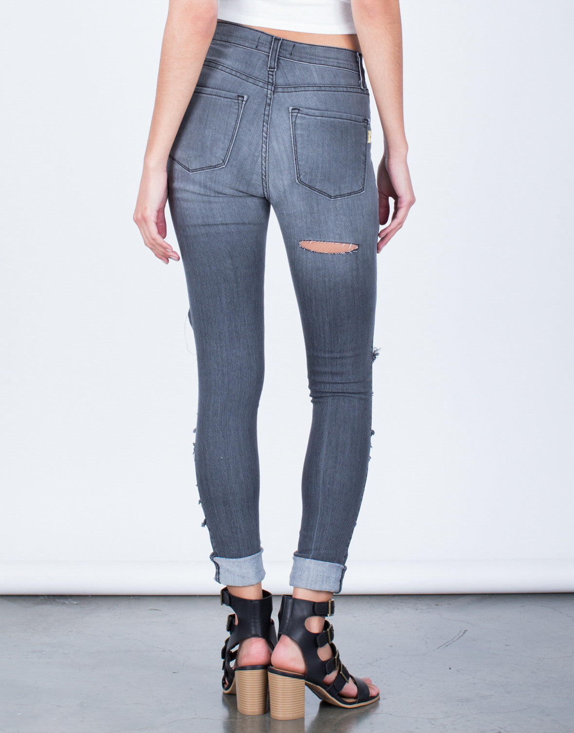 Back View of Front Shredded High Waisted Jeans