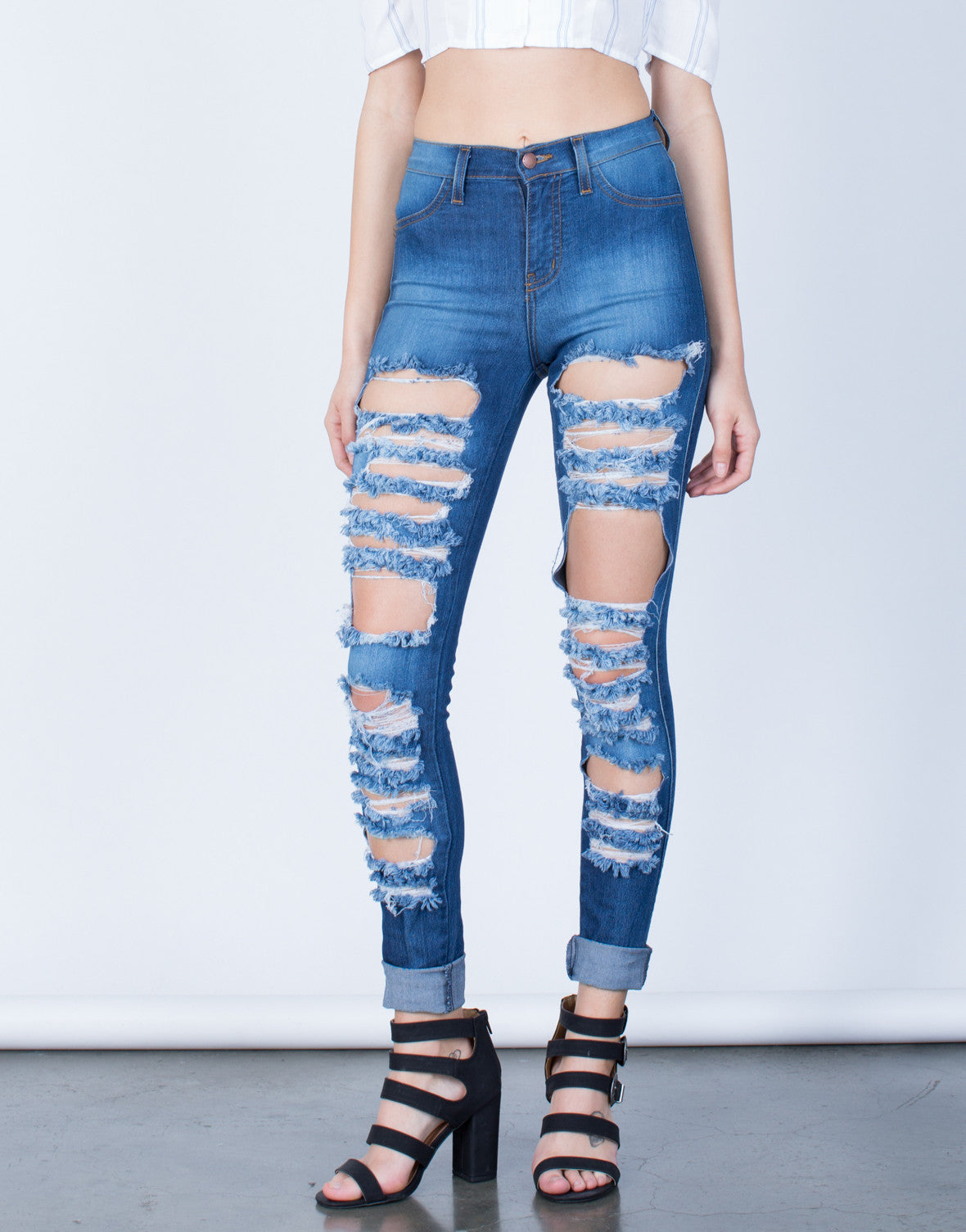 Front View of Front Shredded High Waisted Jeans