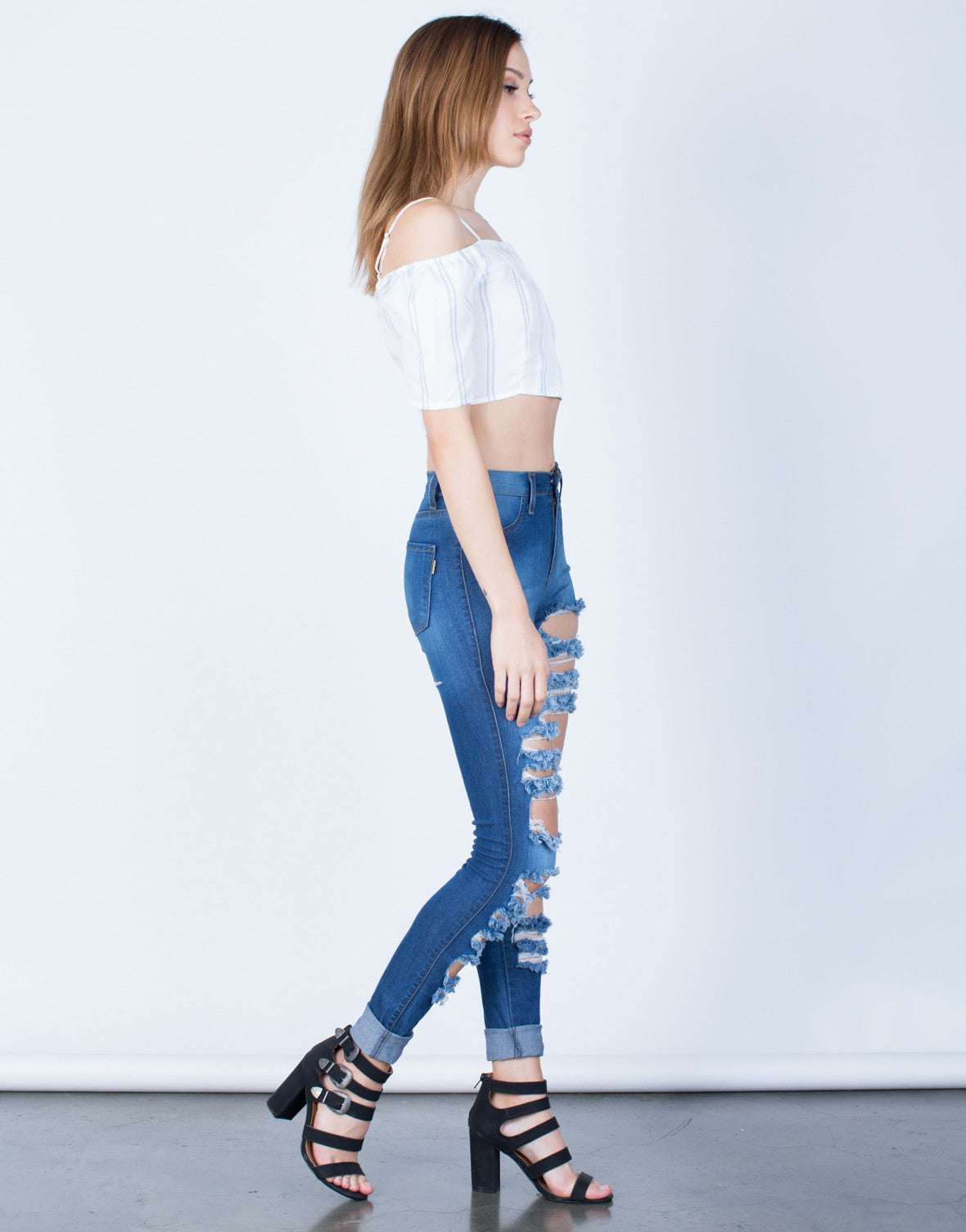 Side View of Front Shredded High Waisted Jeans