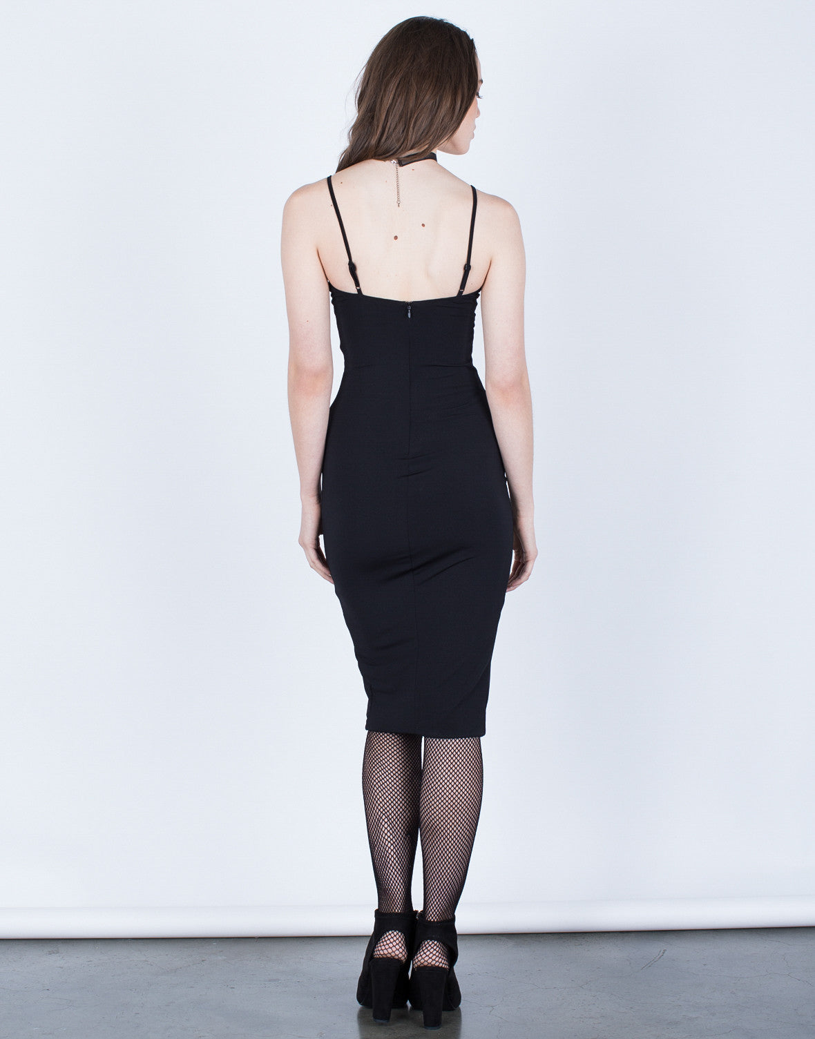 Back View of Front Slit Bodycon Dress