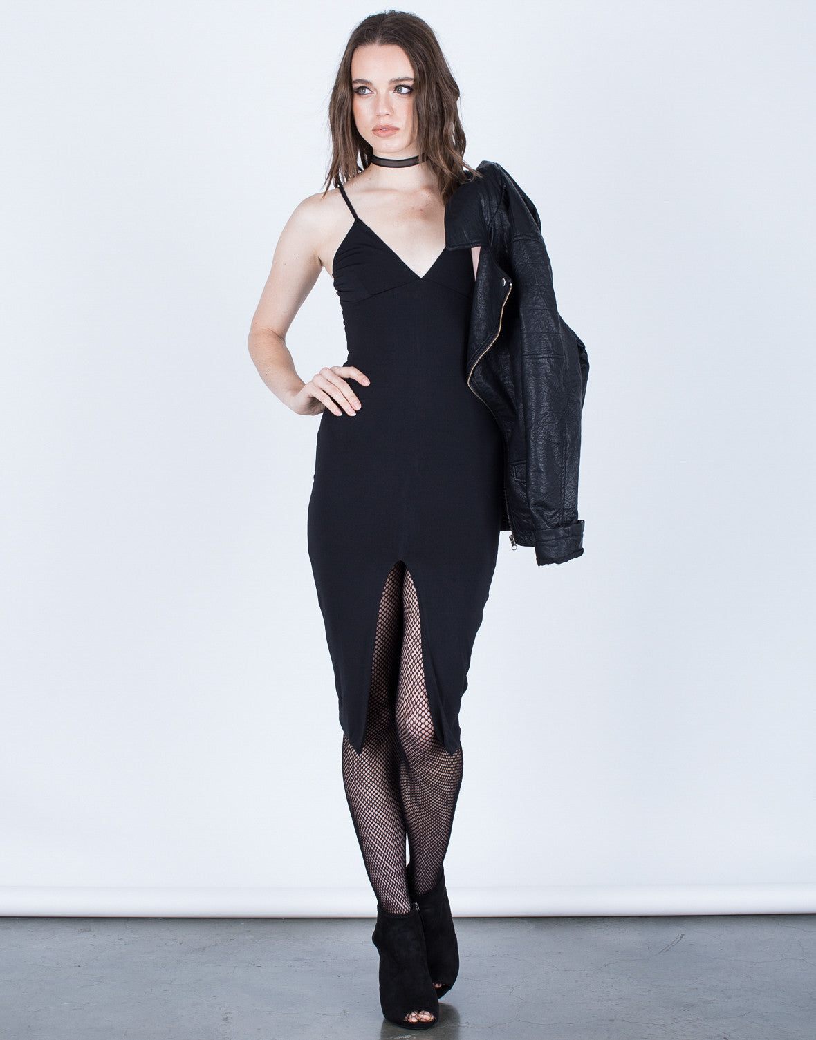 Front View of Front Slit Bodycon Dress