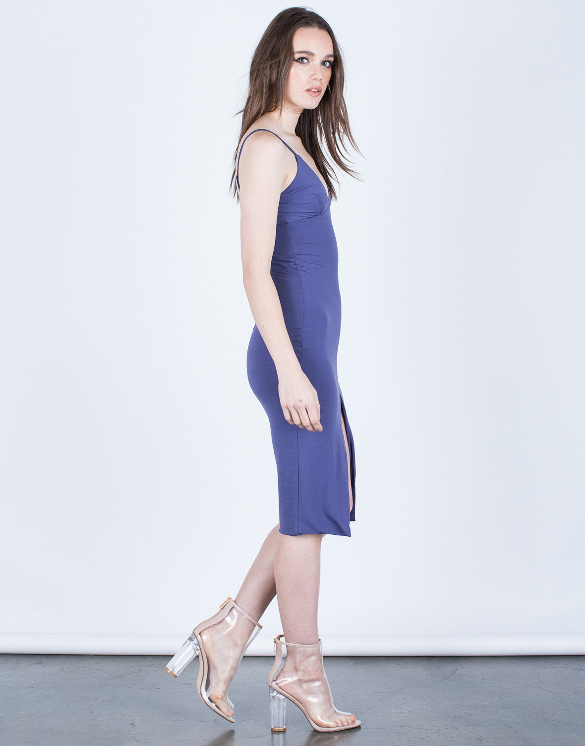 Side View of Front Slit Bodycon Dress
