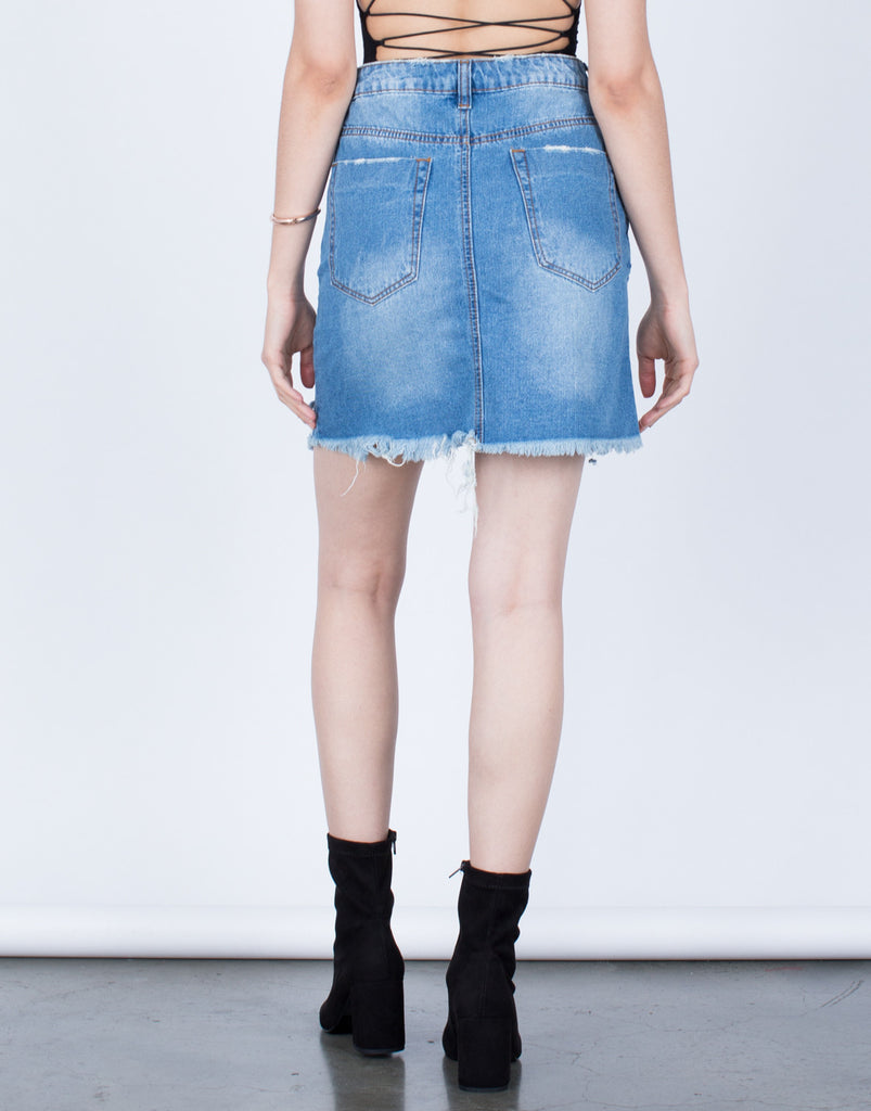 Front Slit Destroyed Denim Skirt - 2020AVE