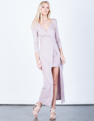 Front View of Front Slit Maxi Dress