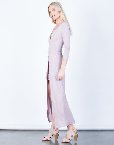 Side View of Front Slit Maxi Dress