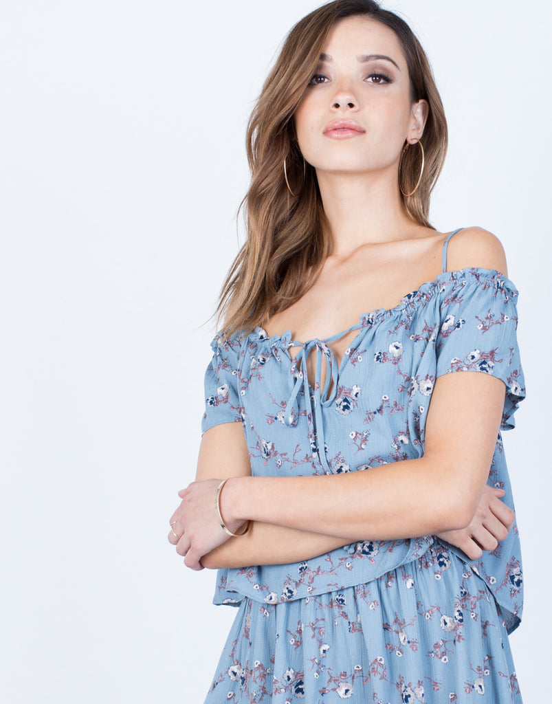 Detail of Front Tie Floral Romper