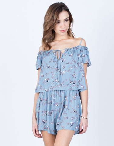 Front View of Front Tie Floral Romper