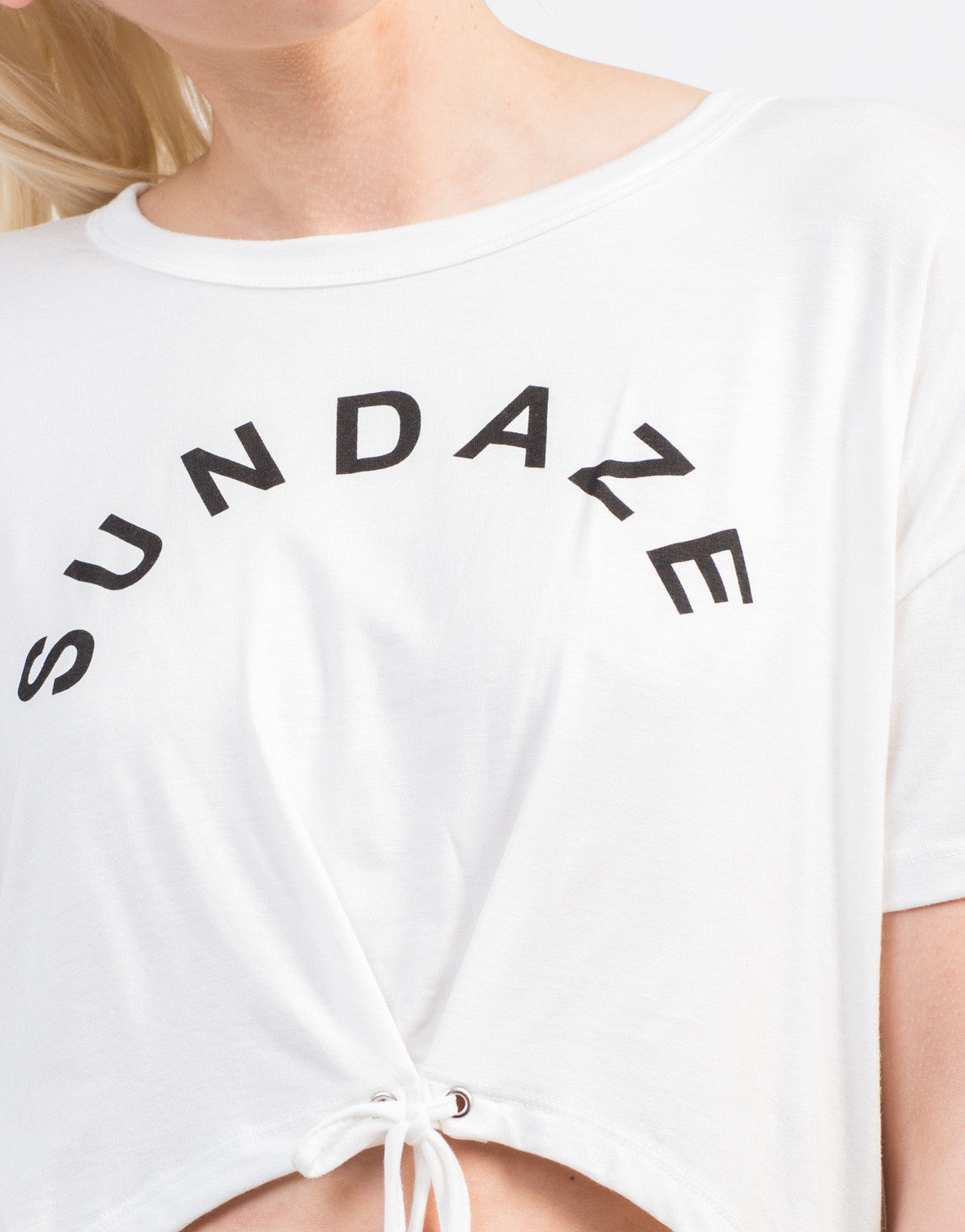 Detail of Front Tie Graphic Tee