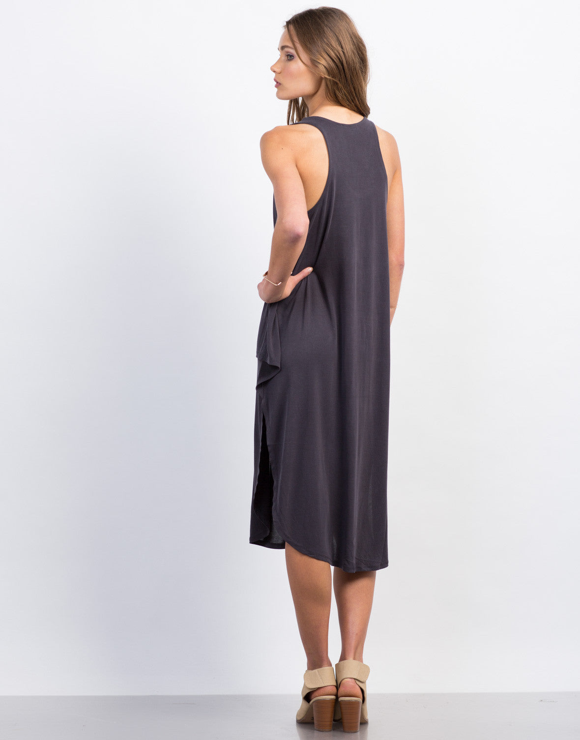 Back View of Front Tie Midi Dress