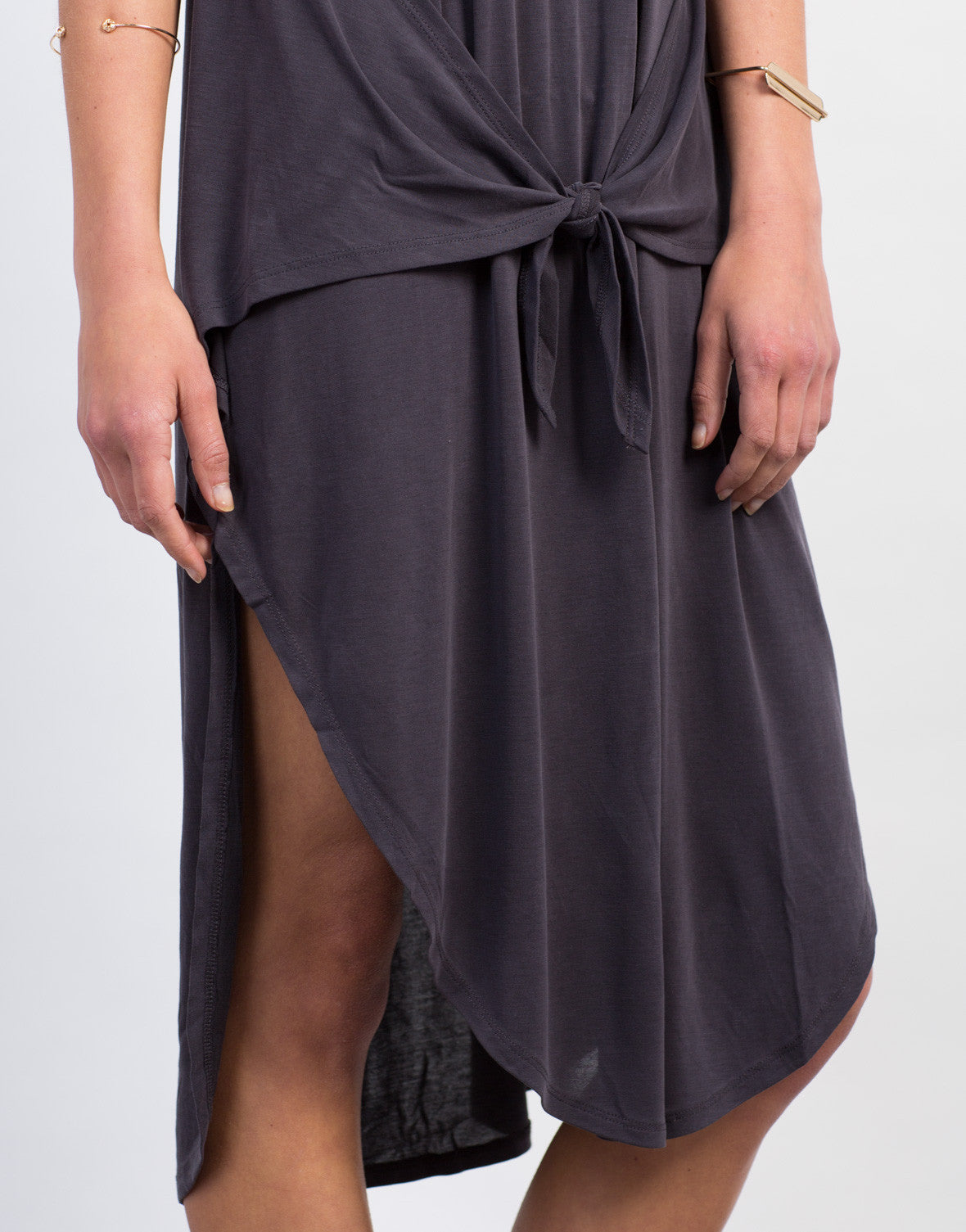 Detail of Front Tie Midi Dress