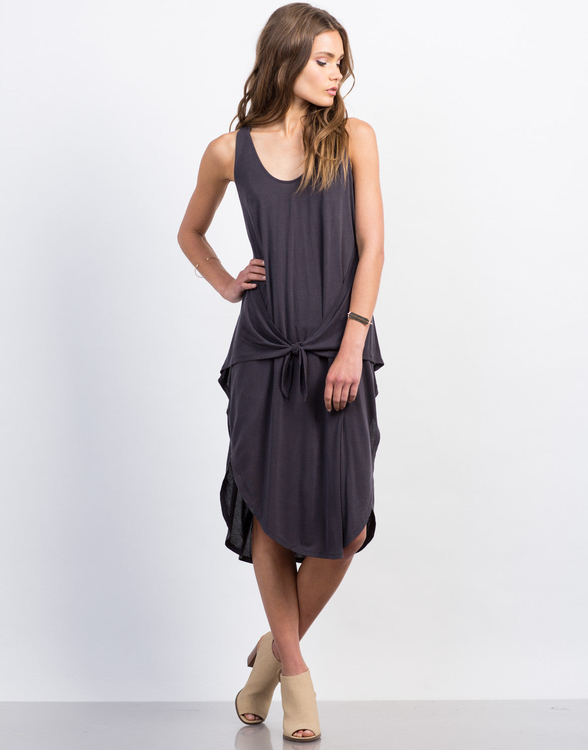 Front View of Front Tie Midi Dress