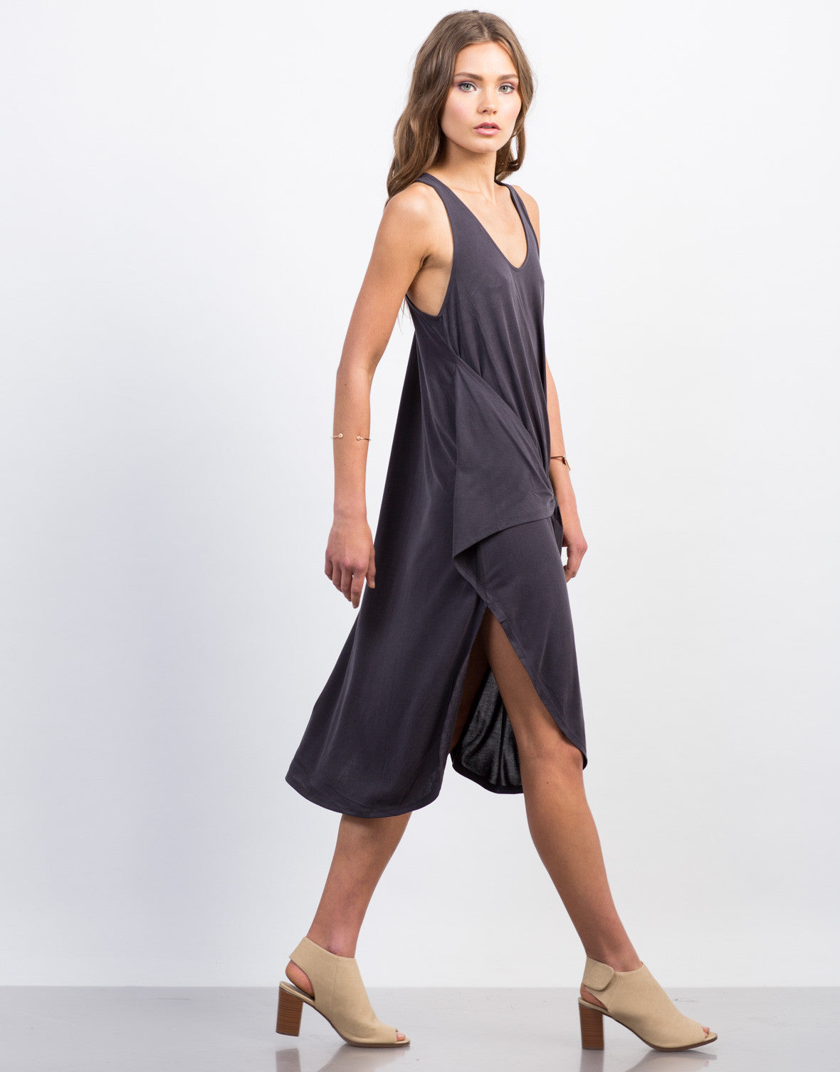Side View of Front Tie Midi Dress