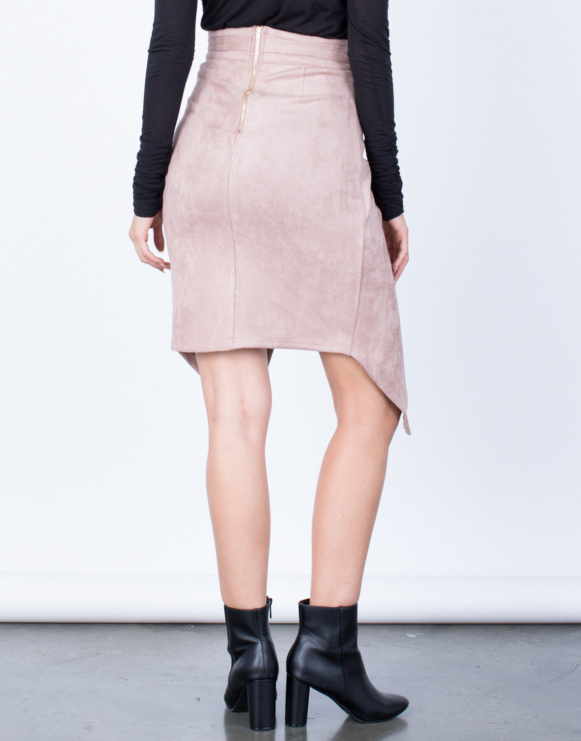 Back View of Front Tie Suede Skirt