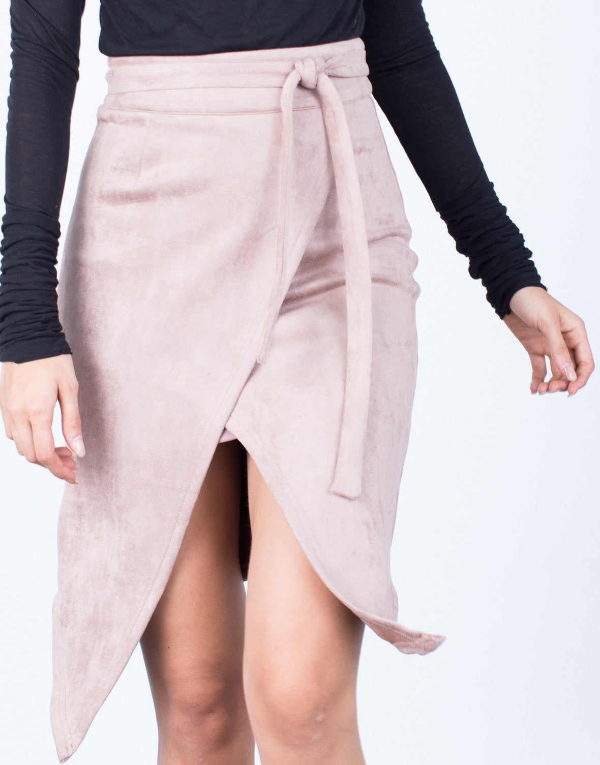 Detail of Front Tie Suede Skirt