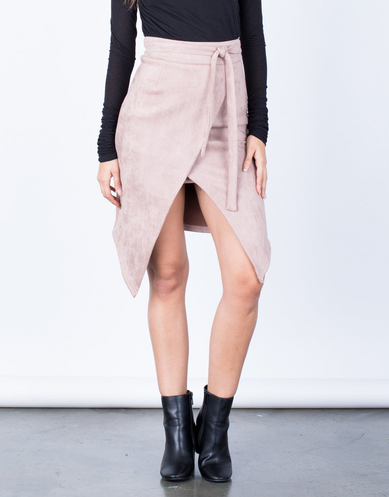 Front View of Front Tie Suede Skirt