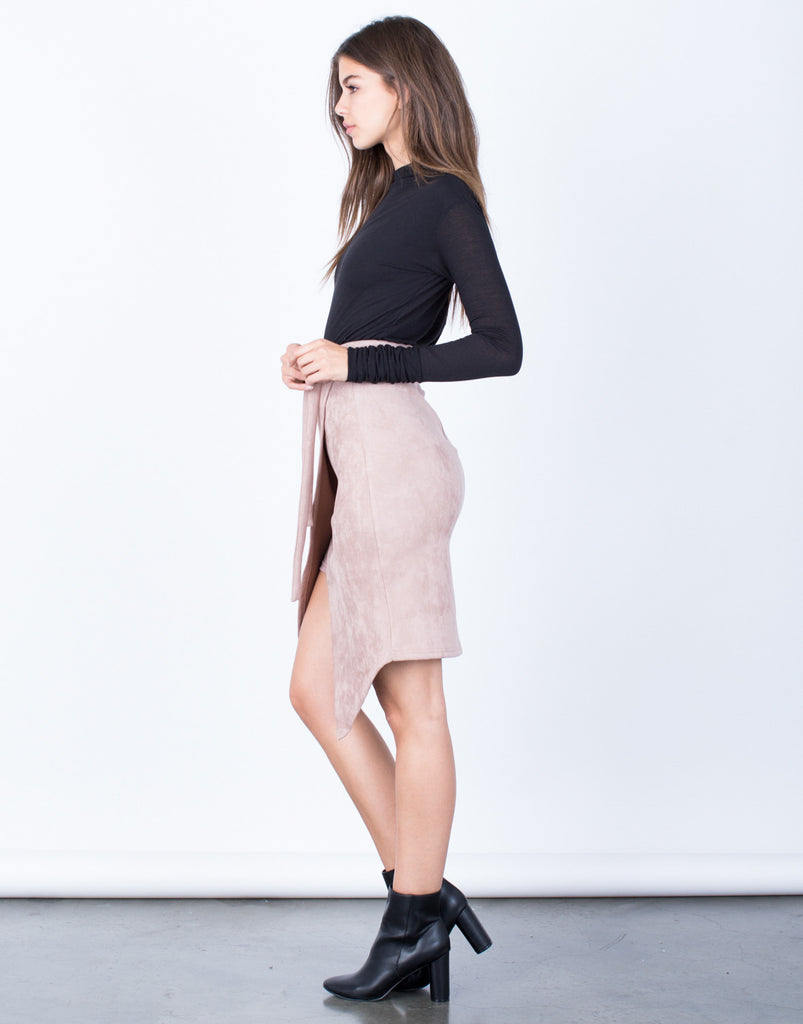 Side View of Front Tie Suede Skirt