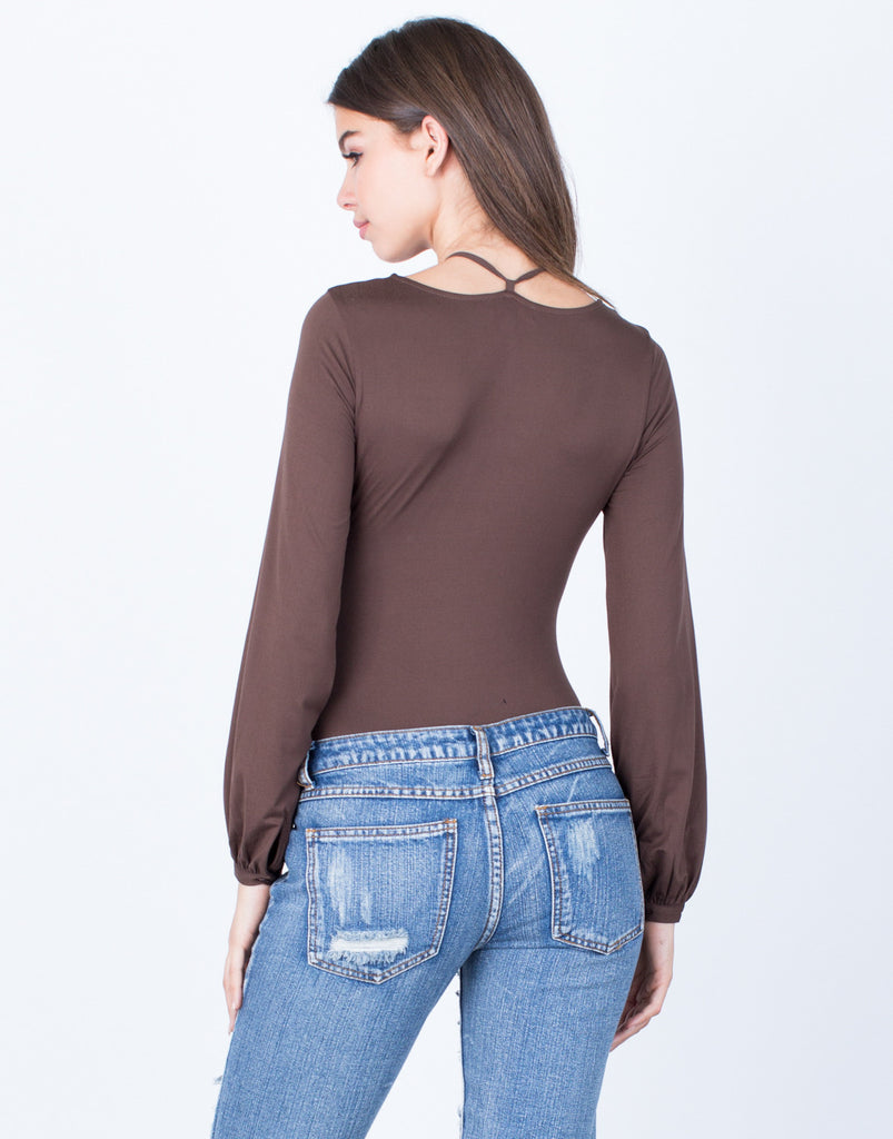 Back View of Front Tie V-Neck Bodysuit