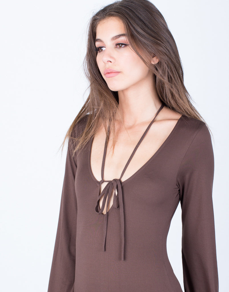 Detail of Front Tie V-Neck Bodysuit