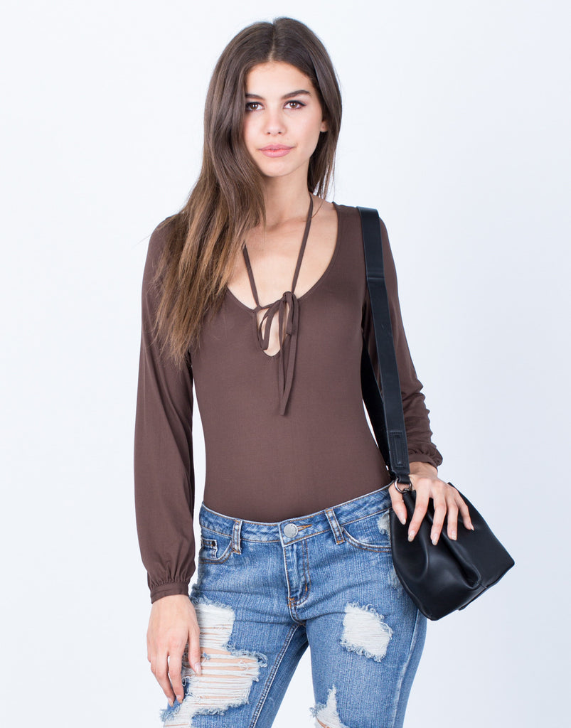 Front View of Front Tie V-Neck Bodysuit