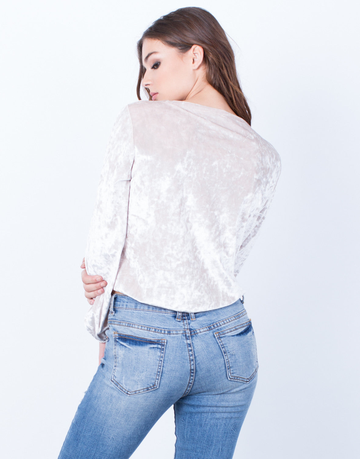 Back View of Front Tie Velvet Sweater