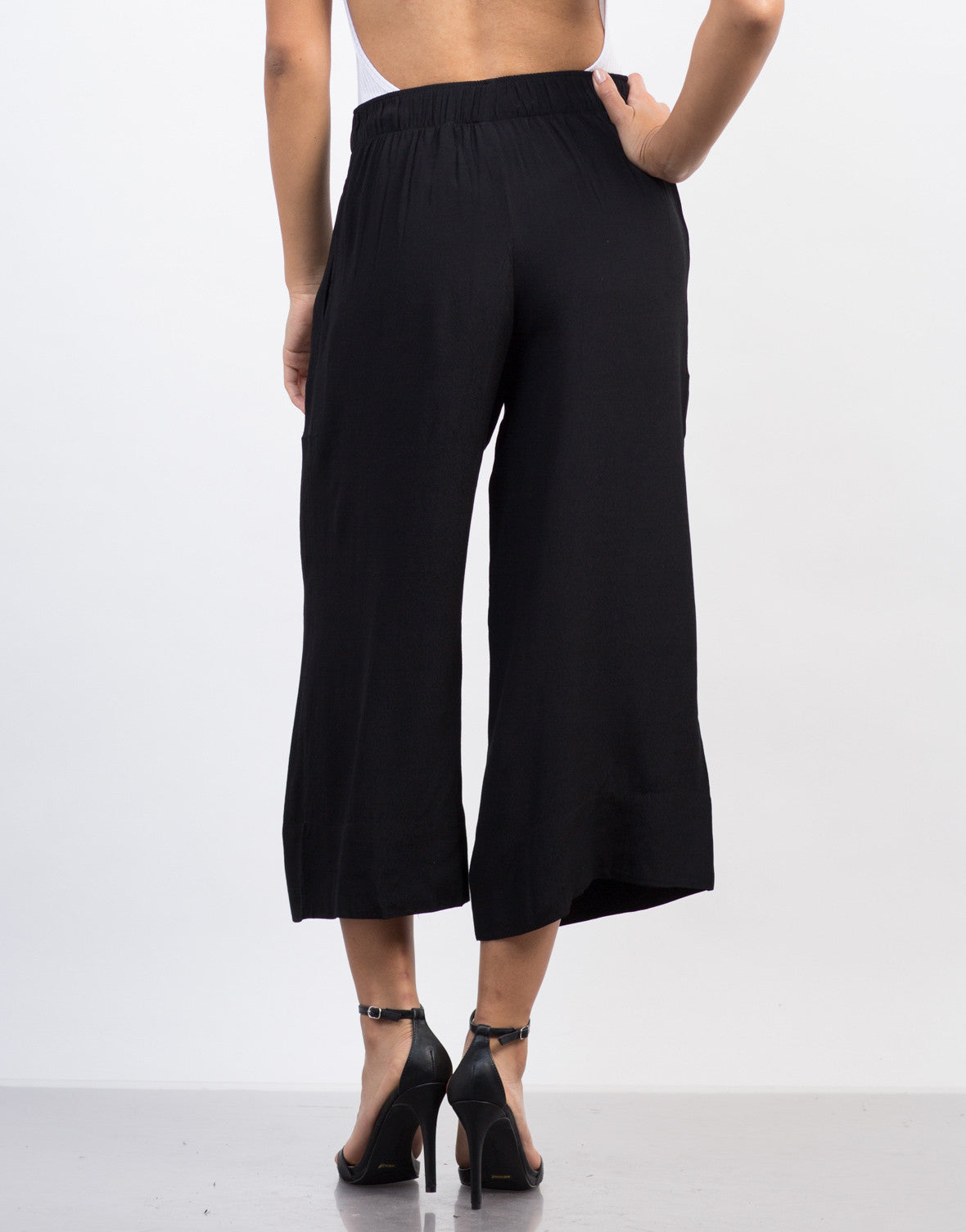 Back View of Front Tie Wide Leg Culottes