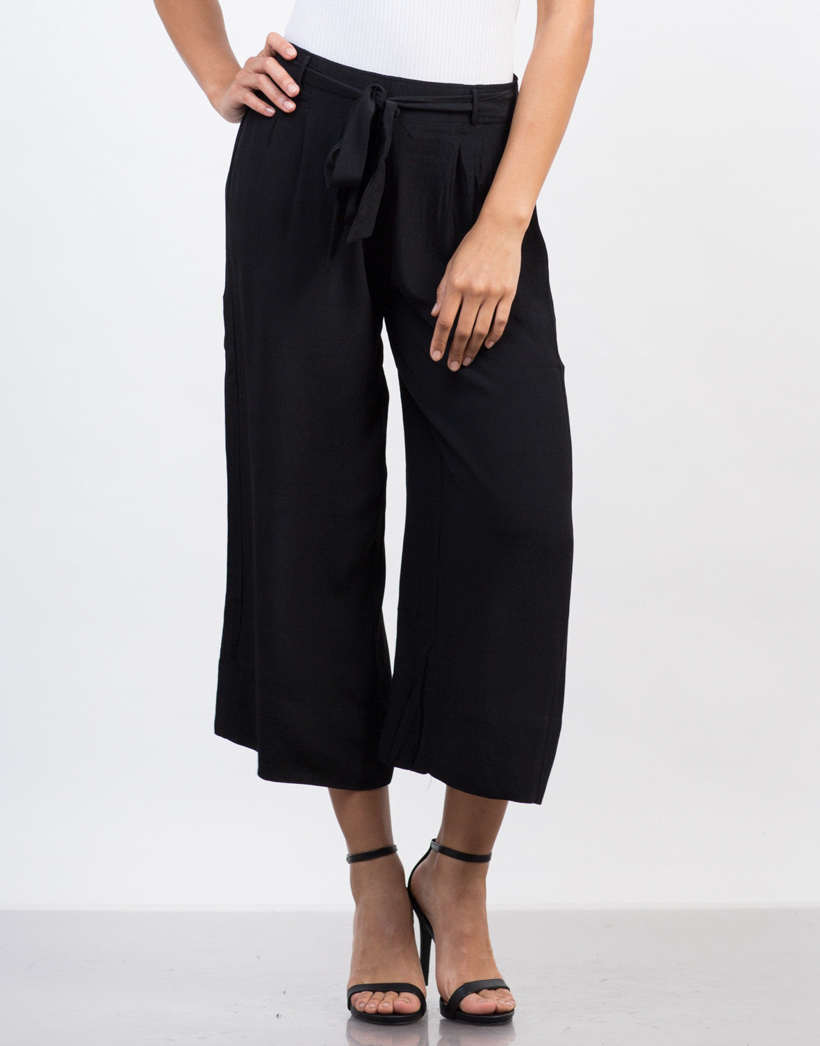 Front View of Front Tie Wide Leg Culottes