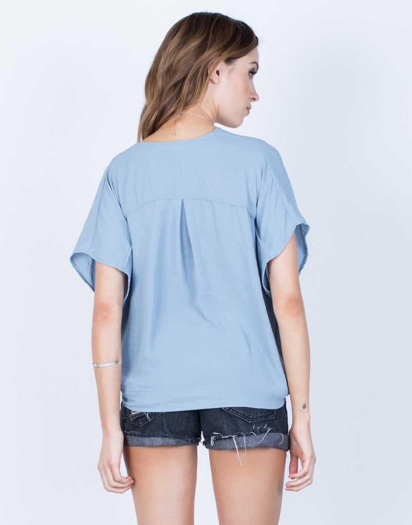 Back View of Front Wrapped Chiffon Blouse
