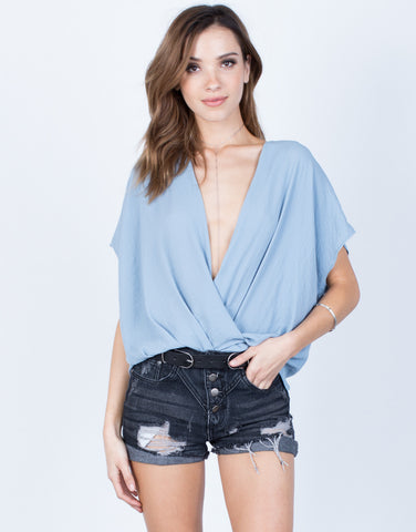 Front View of Front Wrapped Chiffon Blouse