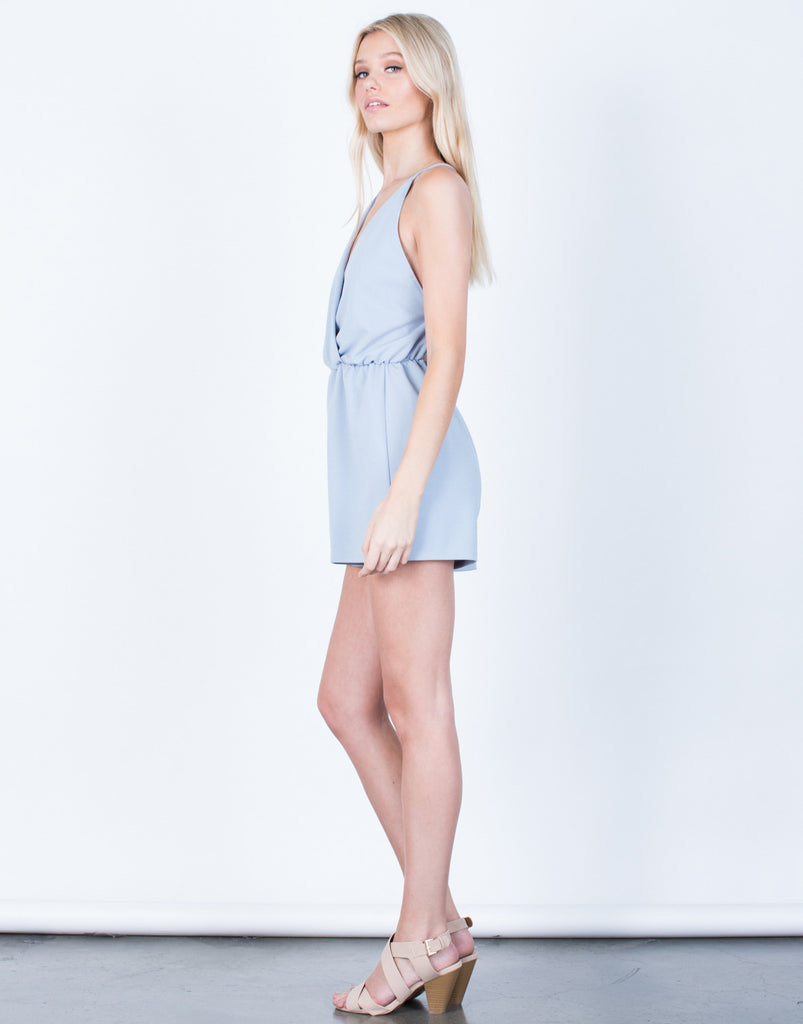 Side View of Front Wrapped Romper