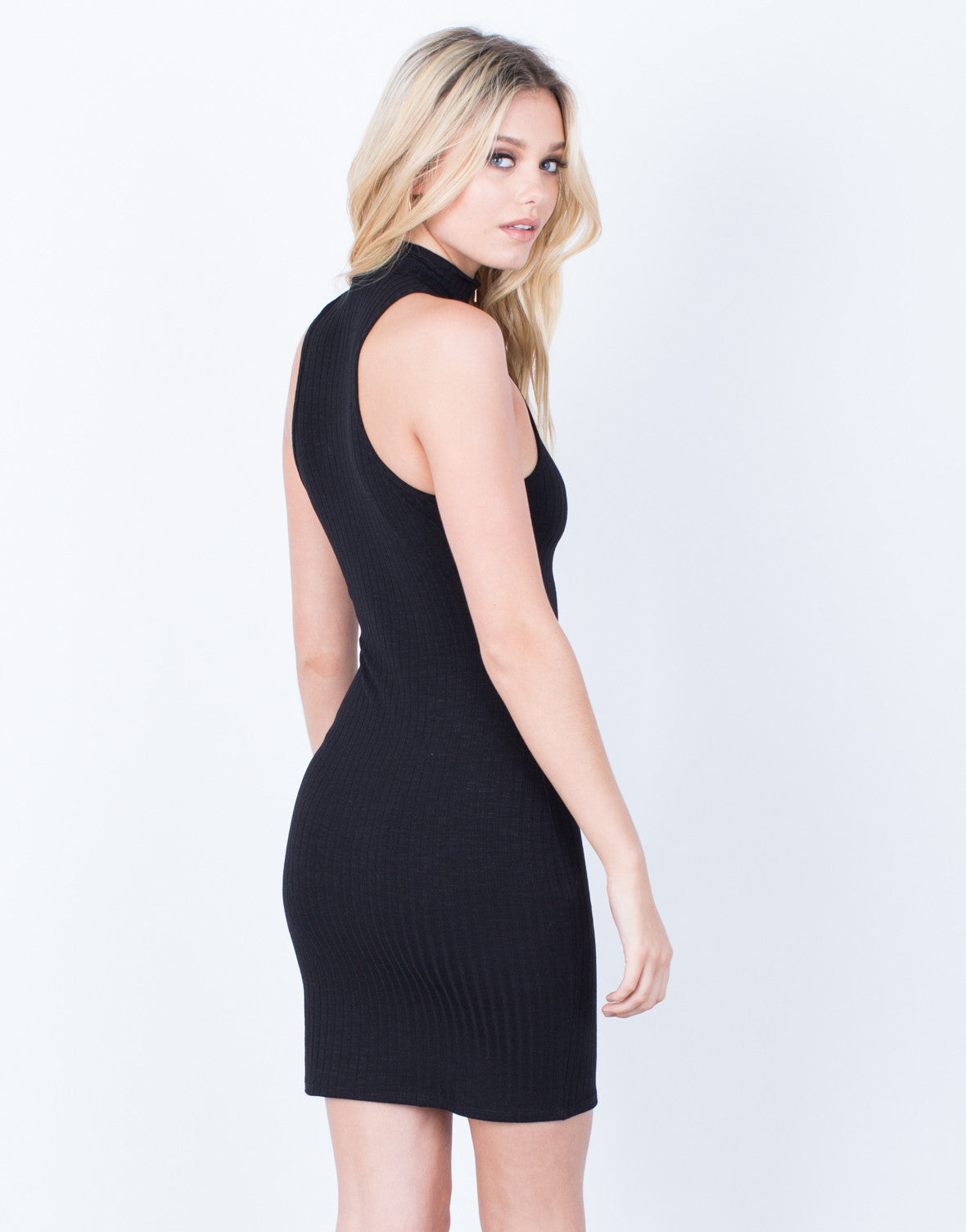 Back View of Front Zip Bodycon Dress