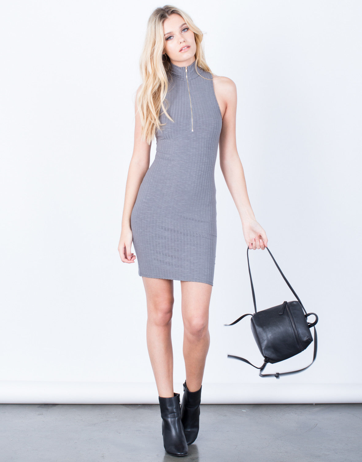Front View of Front Zip Bodycon Dress