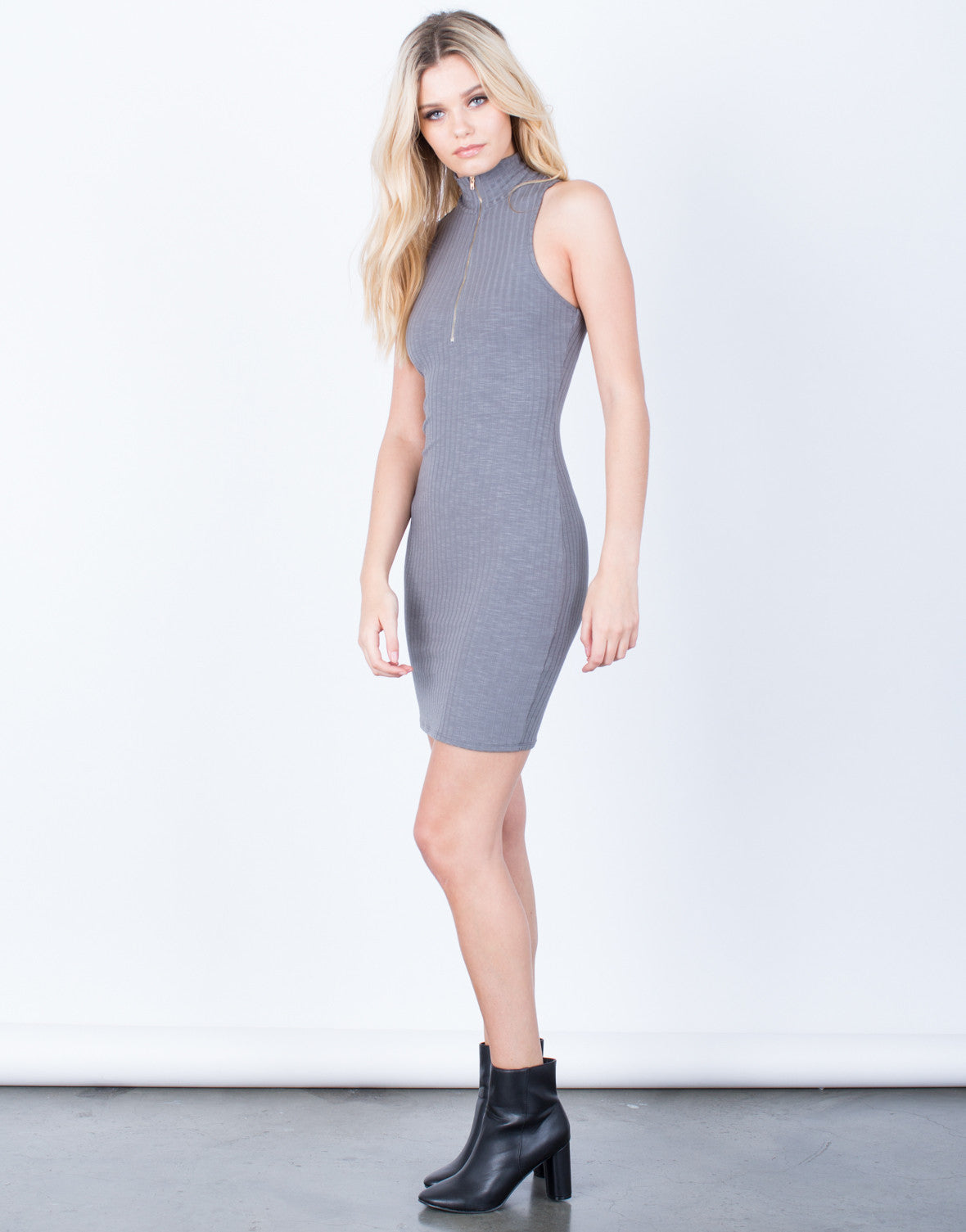 Side View of Front Zip Bodycon Dress