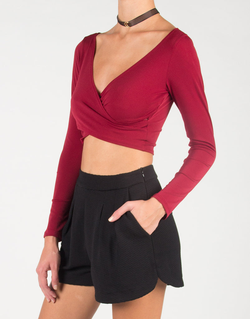 Front Draped Long Sleeve Crop Top - Burgundy - 2020AVE