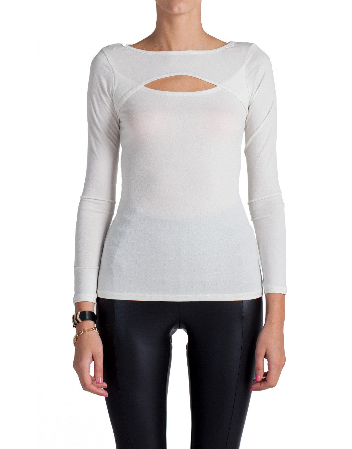 Front Slit Long Sleeve Top - Ivory