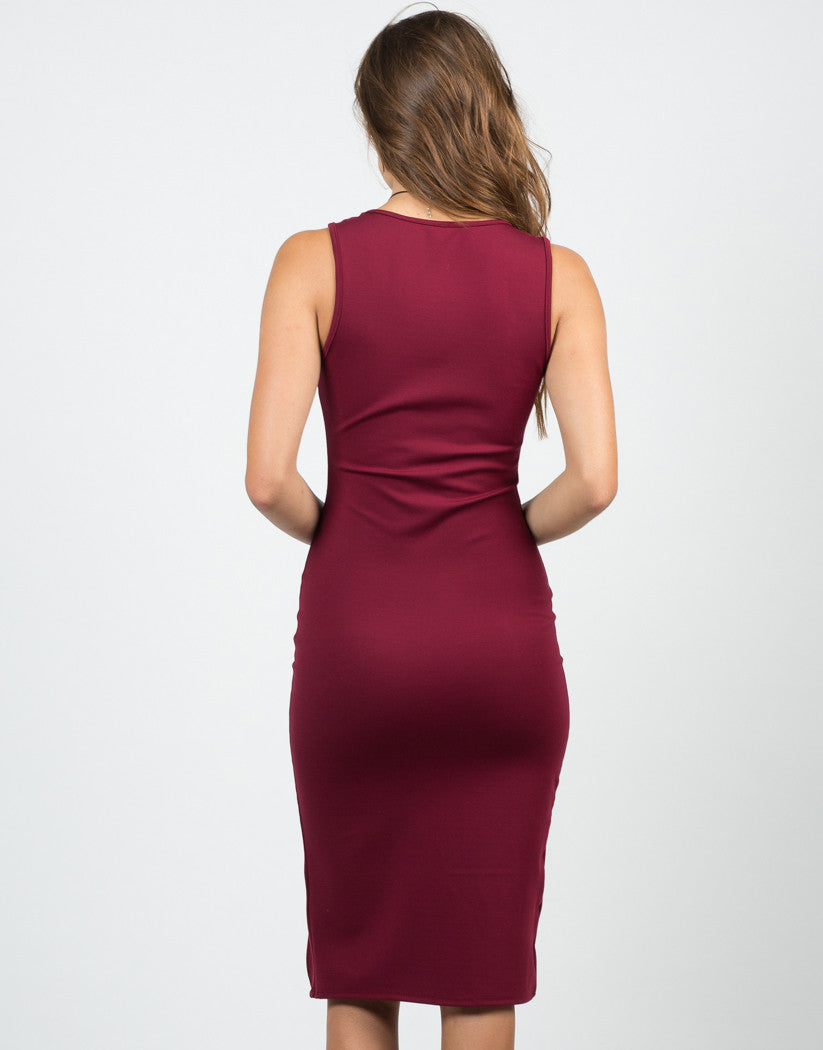 Back View of Front Slit Midi Dress