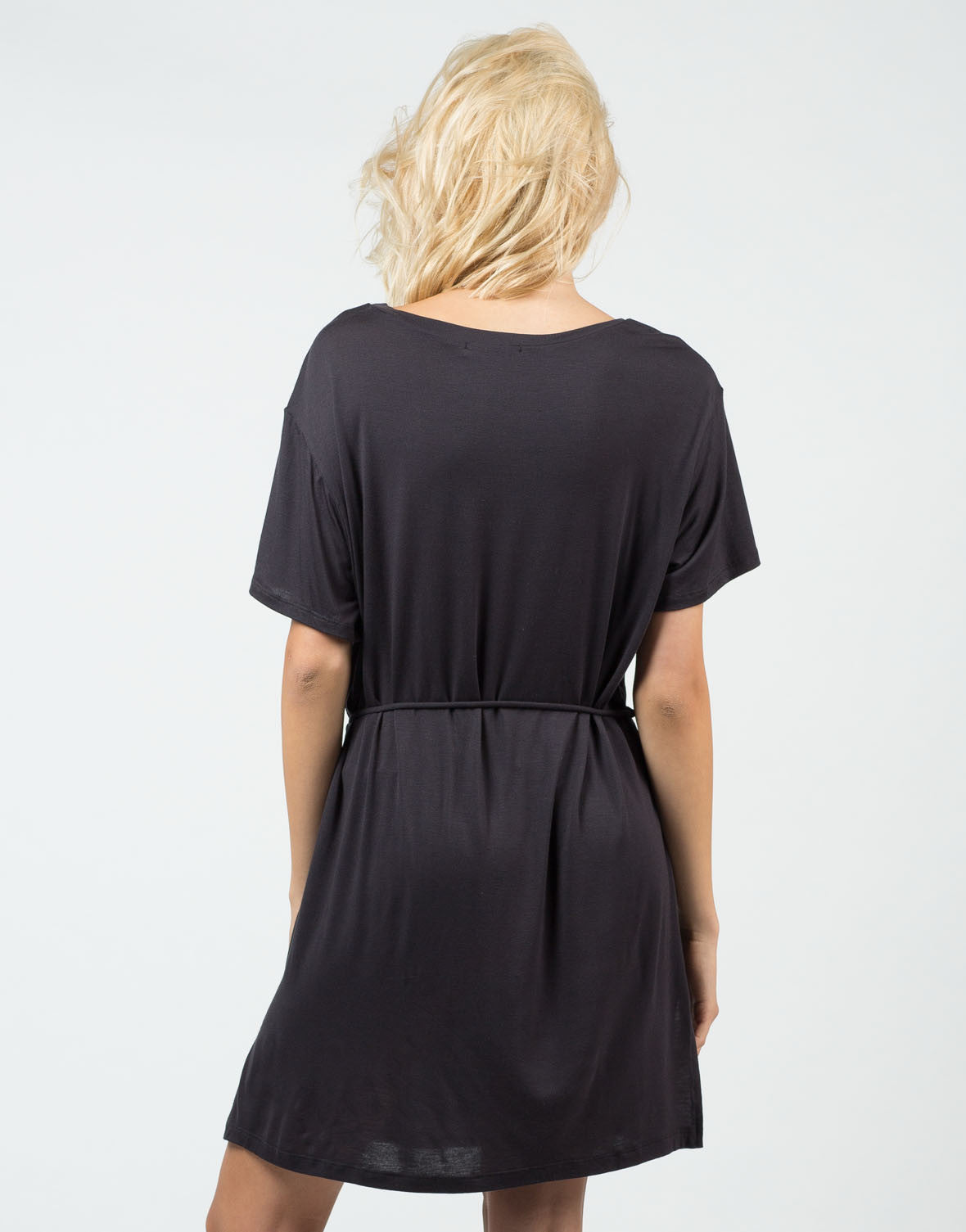 Back View of Front Tie Short Sleeve Dress