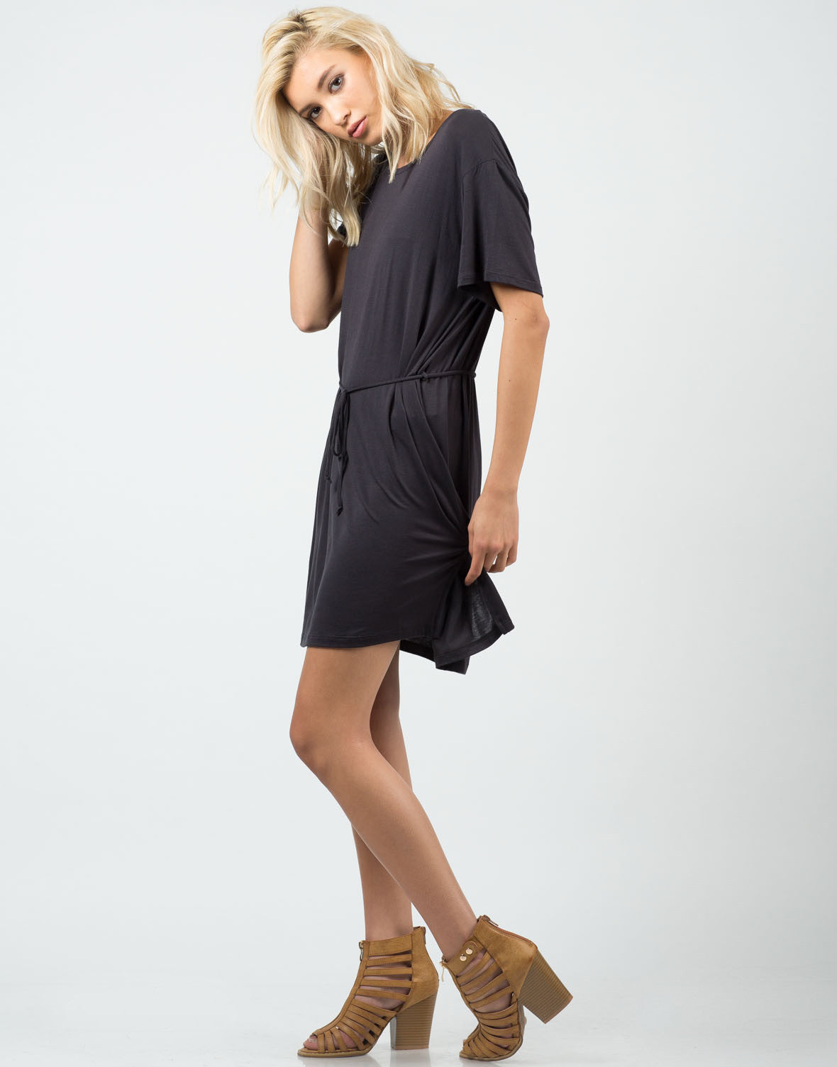 Side View of Front Tie Short Sleeve Dress