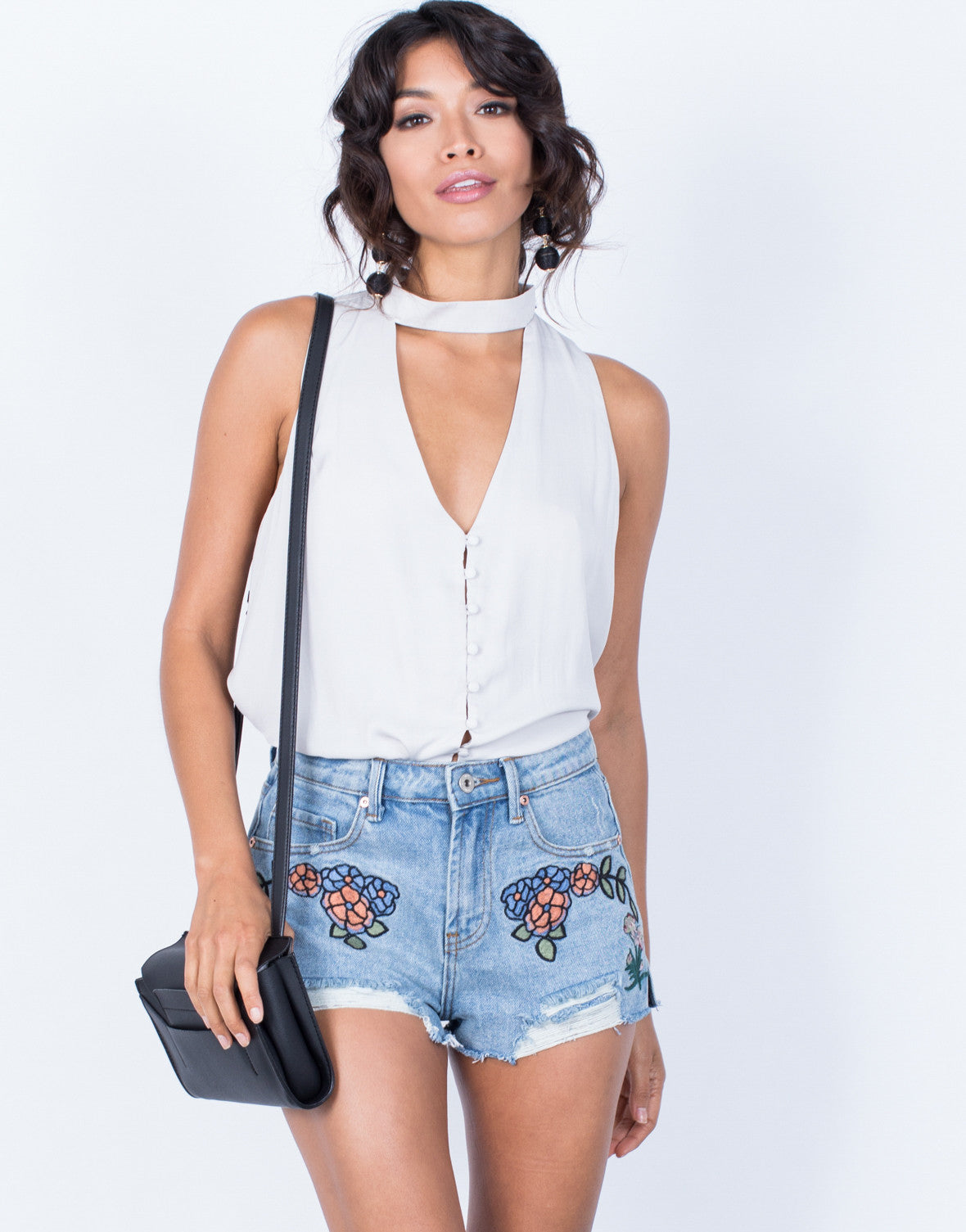 Front View of Full Bloom Denim Shorts