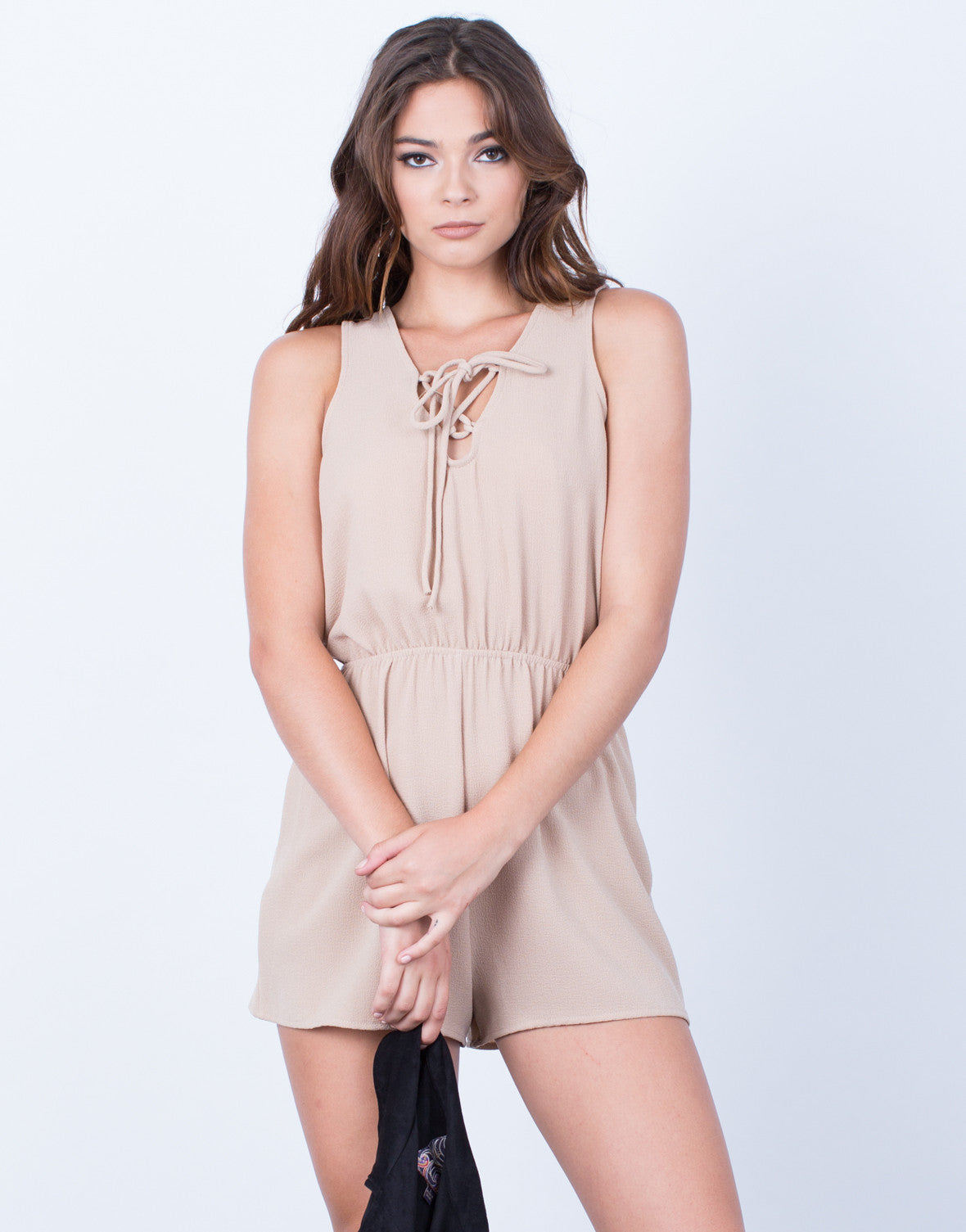 Front View of Full of Life Lace-Up Romper