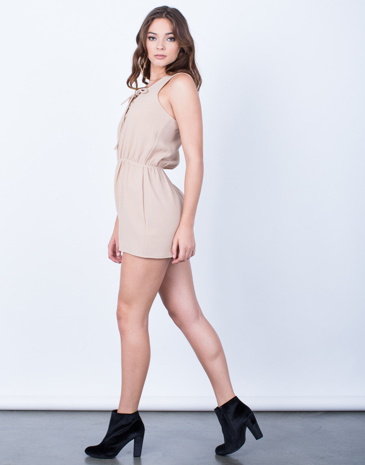 Side View of Full of Life Lace-Up Romper