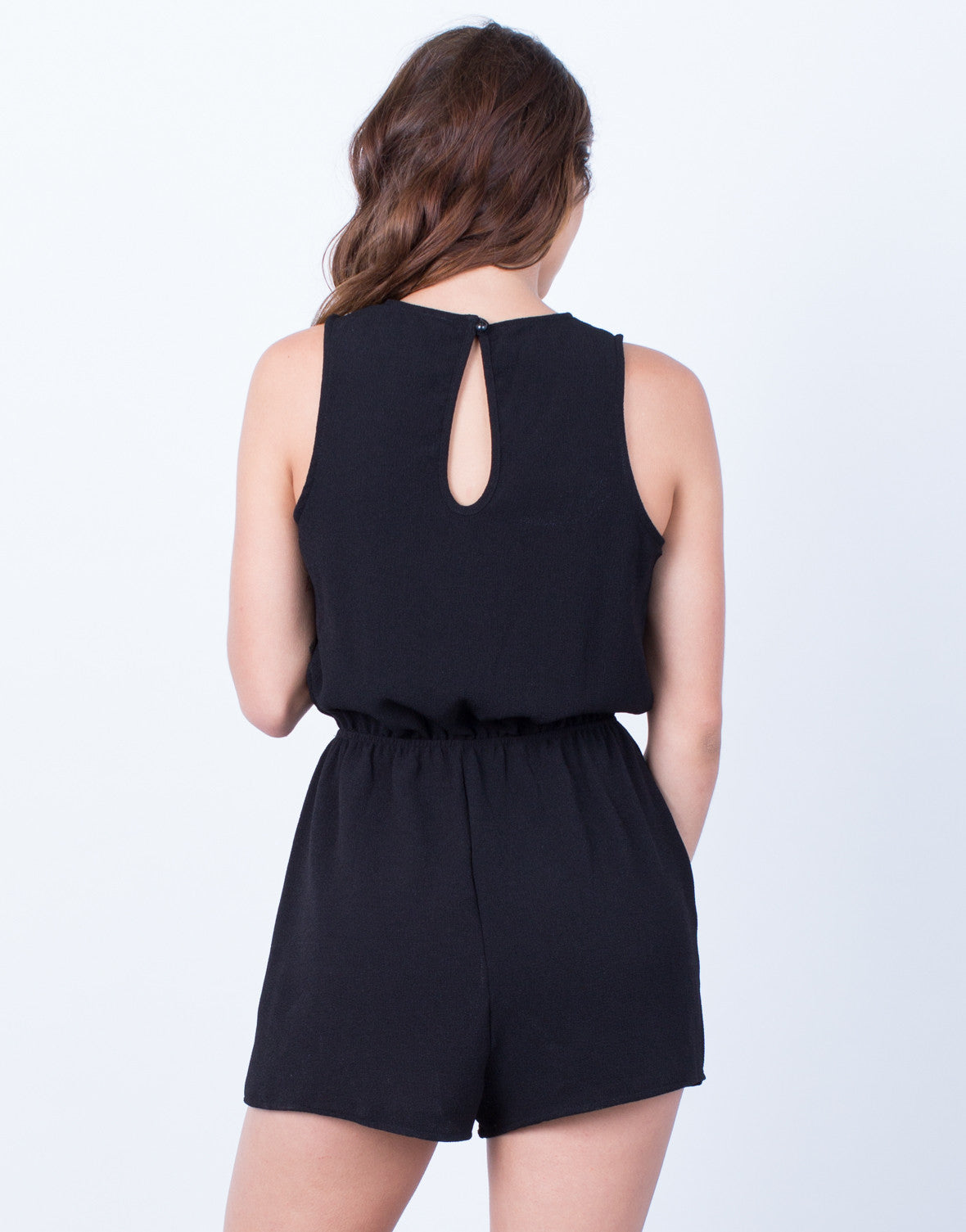 Back View of Full of Life Lace-Up Romper