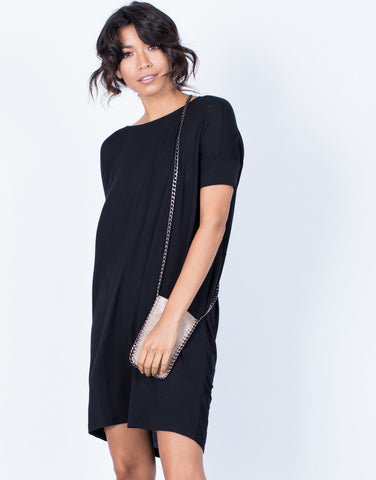 Front View of Full Twist Tee Dress